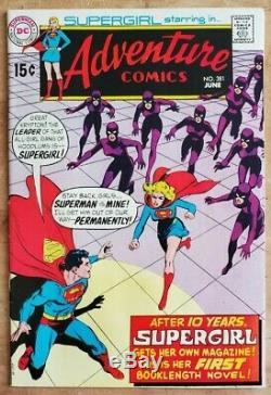 Adventure Comics #381 VF- 382 FN+ 1st + 2nd Solo Supergirl Keys Lots of Pictures