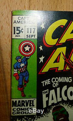 Captain America 117 1st Falcon Appearance 1969 High Grade Key Issue Lots Of Pics