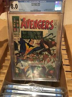 Marvel Avengers Cgc 9.0,8.5,8.0 Silver Age Lot #27,32,40,47,54,77,90