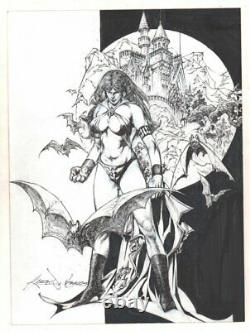 Vampirella with Lots of Bats and Castle Background Commission art by Ruby Nebres